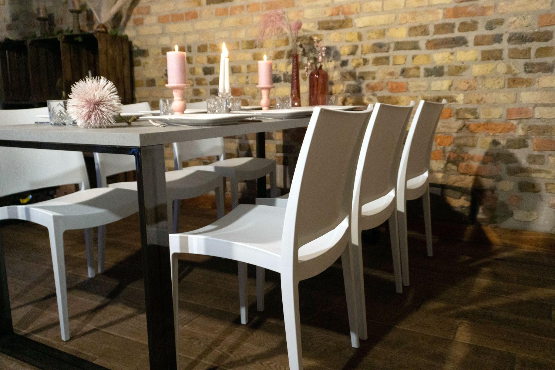 Hochzeitsparty Tisch Betonoptik mieten