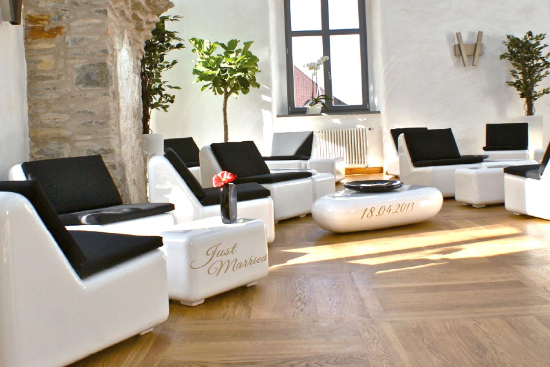Lounge mit Namen personalisiert
